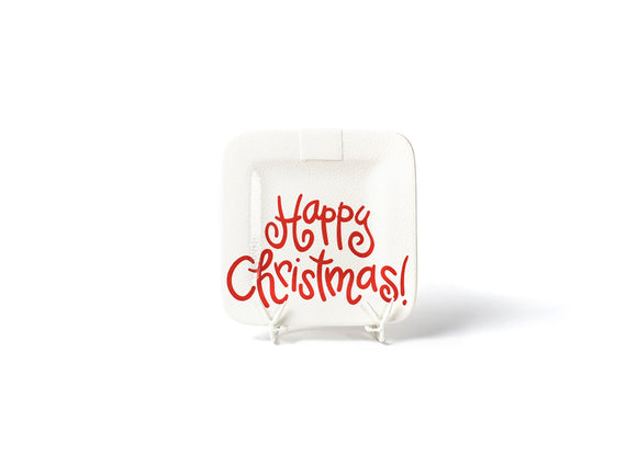 Retired White Small Dot Happy Christmas 9.25 Mini Platter