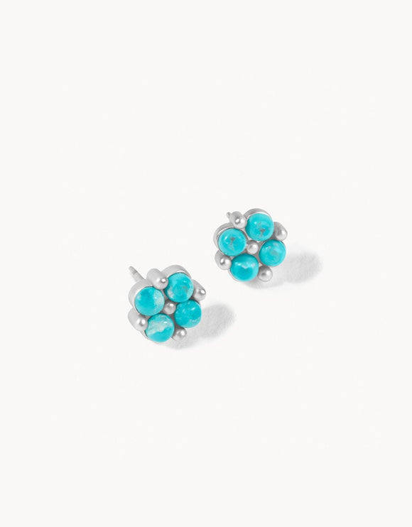 Clover Stud Earrings Turquoise SIL