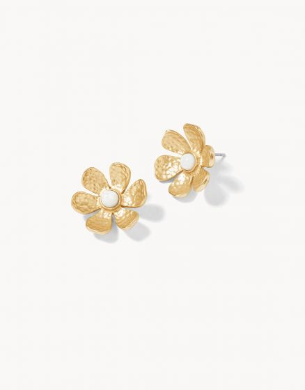 Garden Flower Stud Earrings Gold