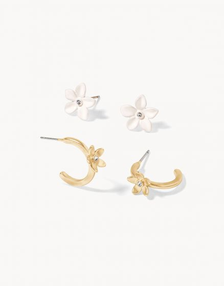 Garden Party Stud Earrings Set White (2-pairs)