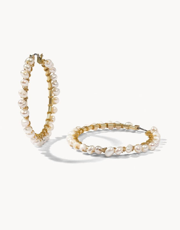 Ann Pearl Hoop Earrings