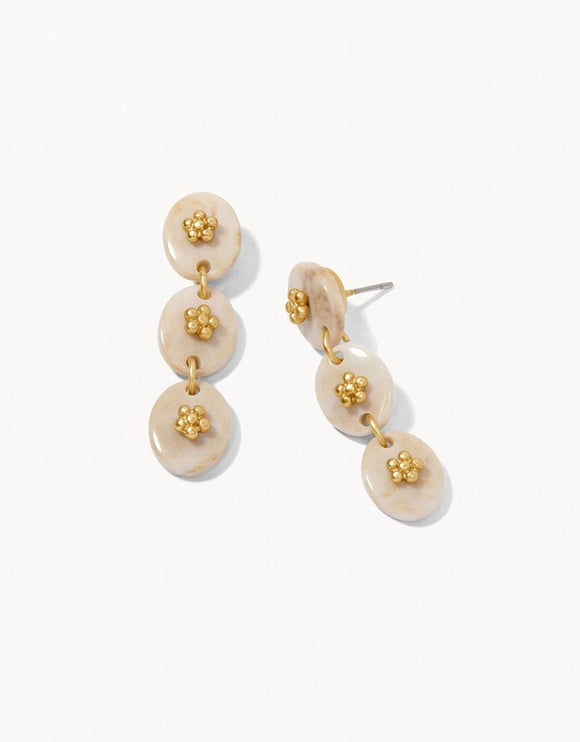 Harbor Linear Resin Earrings Flowers/Cream