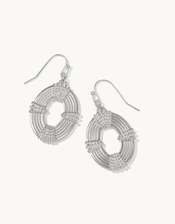 Oval Medallion Earrings Silver