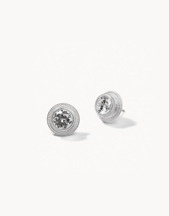 Sparkle Stud Earrings Crystal Silver