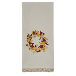 Harvest Wreath Embroidered Dish Towel