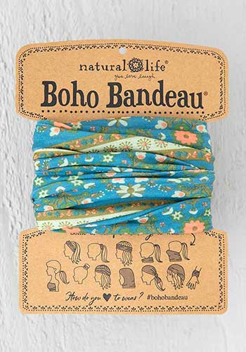 Natural Life Boho Bandeau Blue Flower Medallion