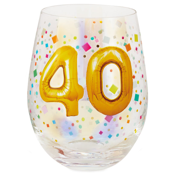 Hallmark 40th Birthday Balloons Stemless Wine Glass, 17 oz.