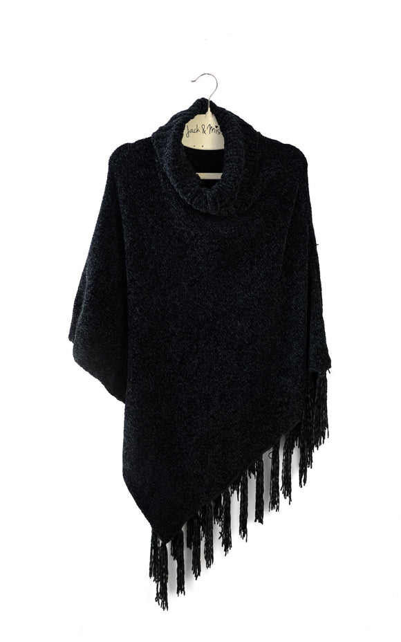 Beyond Soft Chenille Cowl Neck Poncho - 4 Colors Available