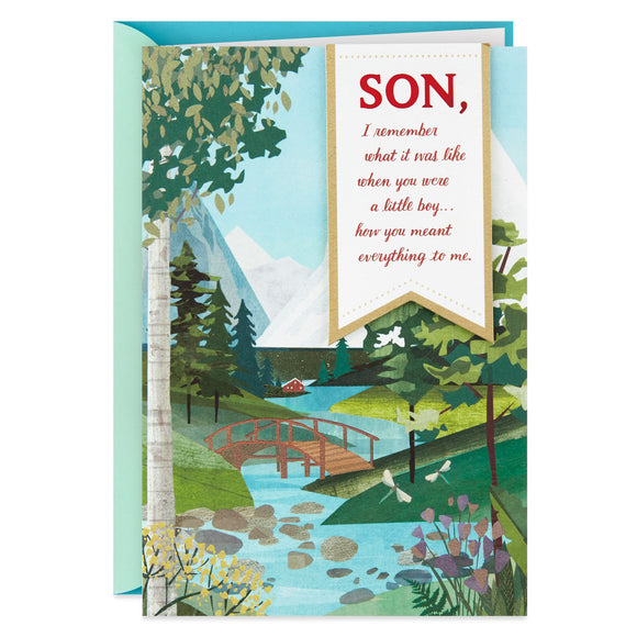 Hallmark Bridge Over Stream Scene Father's Day Card for Son