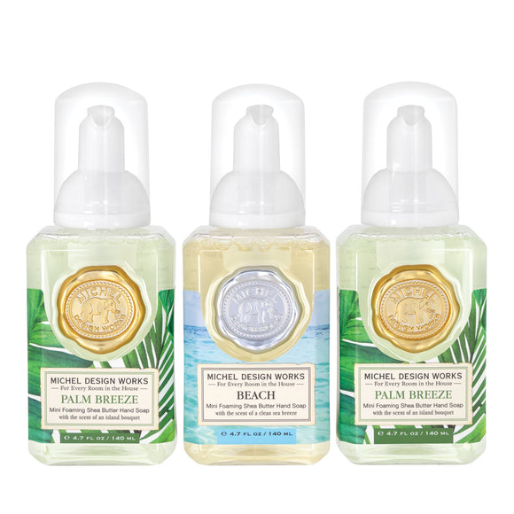 Mini Foaming Hand Soap Set of 3: Palm Breeze, Beach, Palm Breeze