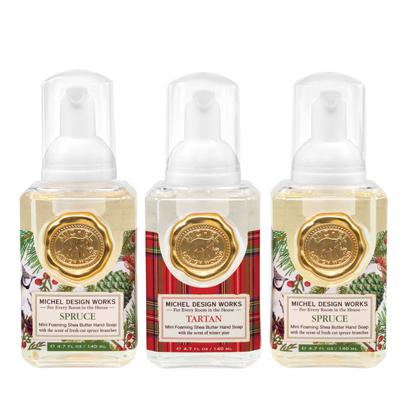 Mini Foaming Hand Soap Set of 3: Spruce, Tartan, Spruce