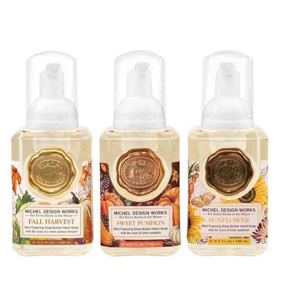 Mini Foaming Hand Soap Set of 3: Fall Harvest, Sweet Pumpkin, Sunflower