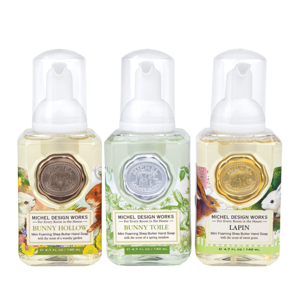Mini Foaming Hand Soap Set of 3: Bunny Hollow, Bunny Toile & Lapin