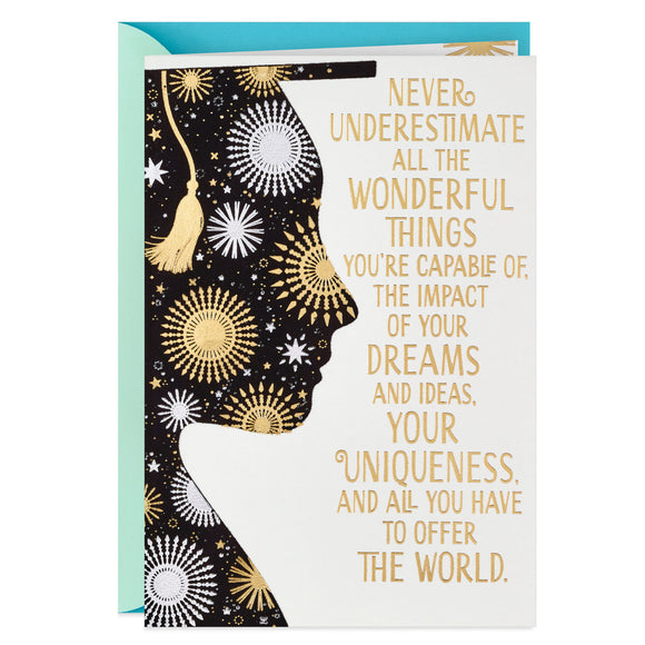 Hallmark Stars and Silhouette With Mortarboard Graduation Card