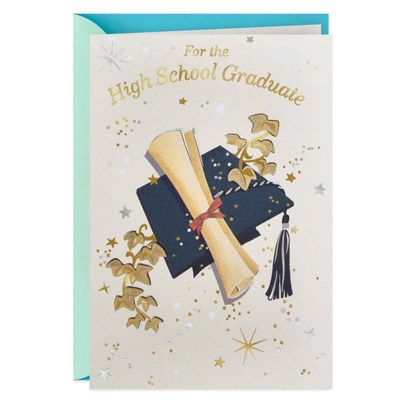 Hallmark Mortarboard and Scroll High School Graduation Card