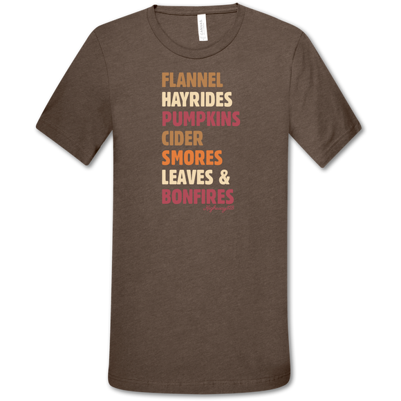 Highway 828 Leaves & Bonfires Heather Brown Shirt