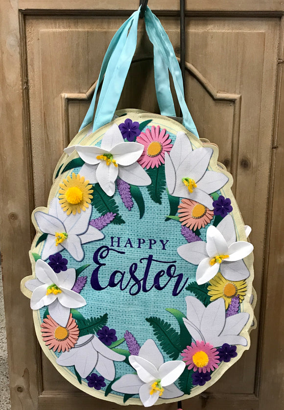Door Decor Easter Lily Egg