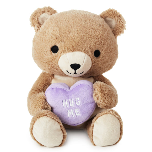 Hallmark Teddy Bear With Hug Me Candy Heart Stuffed Animal, 8