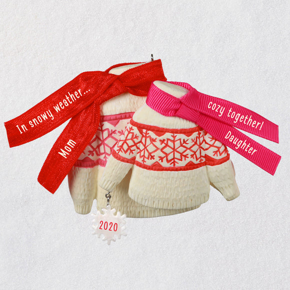 Hallmark Cozy Together Mom and Daughter Matching Sweaters 2020 Ornament