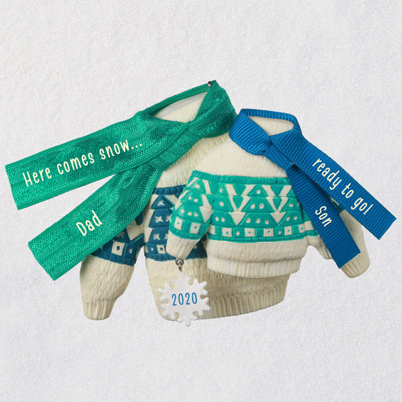 Hallmark Bring On the Snow Dad and Son Matching Sweaters 2020 Ornament