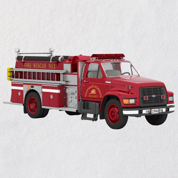 Hallmark Fire Brigade 1996 Ford F-800 Fire Engine 2020 Ornament With Light