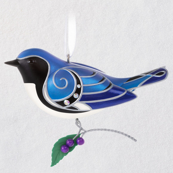 Hallmark The Beauty of Birds Black-Throated Blue Warbler Ornament