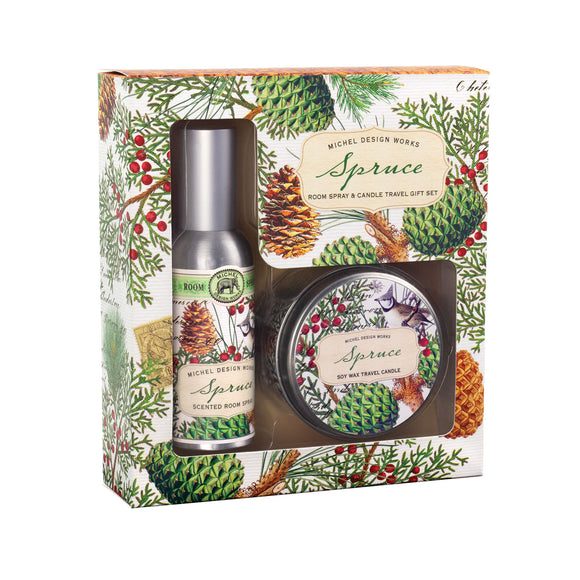 Spruce Spray and Candle Travel Gift Set