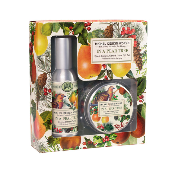 In a Pear Spray and Candle Travel Gift Set