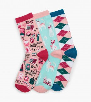 Book Club Women's Crew Sock Set of 3