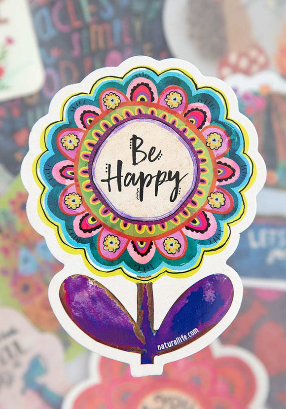 Be Happy Flower Vinyl Sticker