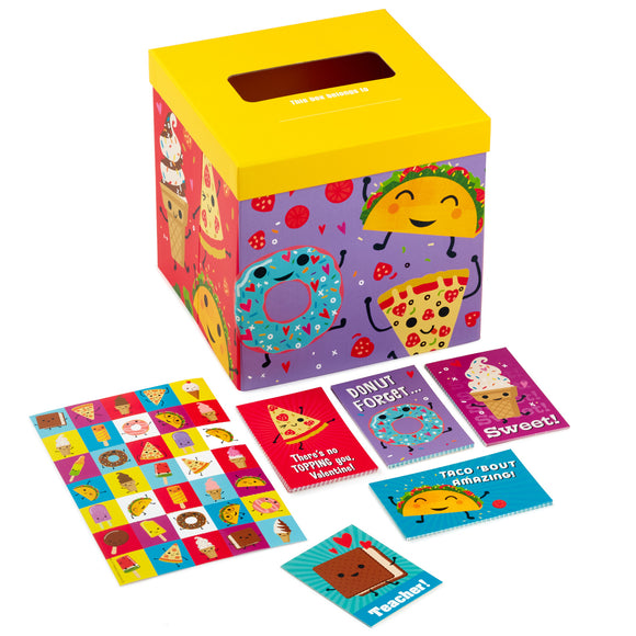 Hallmark Punny Foods Kids Classroom Valentines Set With Cards, Stickers and Mailbox