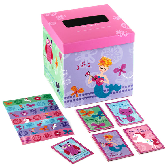 Hallmark Pretty in Pink Kids Classroom Valentines Set With Cards, Stickers and Mailbox