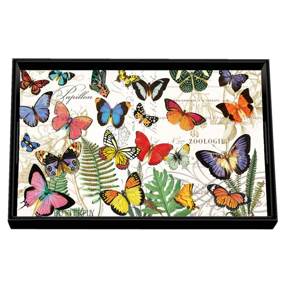 Papillon Vanity Decoupage Wooden Tray