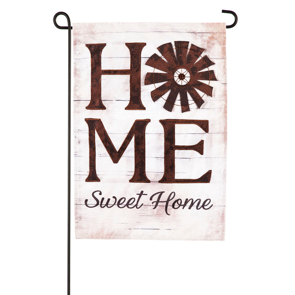 Garden Flag Windmill Home Sweet Home Suede