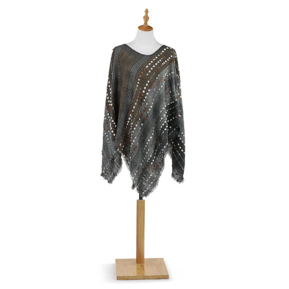 Textured Poncho Gray Mix