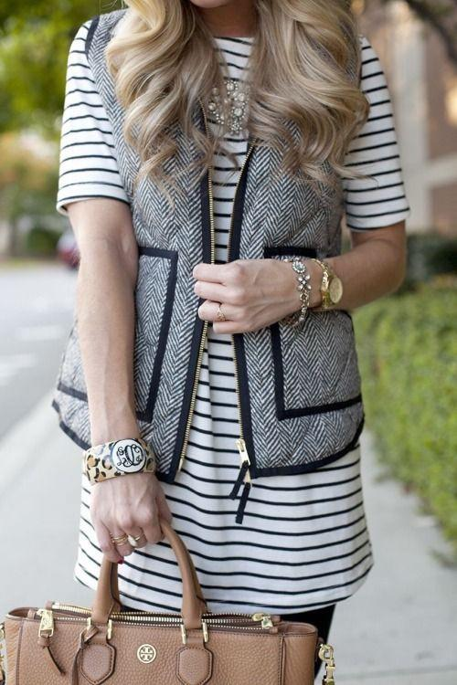 Black Herringbone Full Zip Vest with Pockets