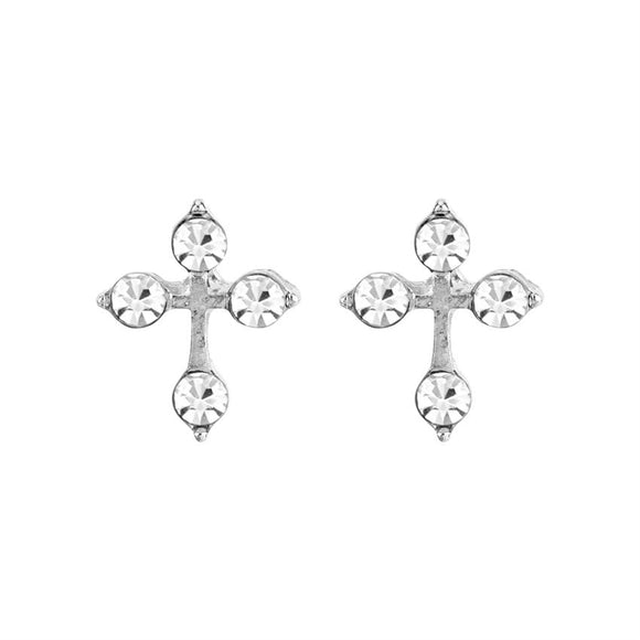 Silver Cross of Light Earrings