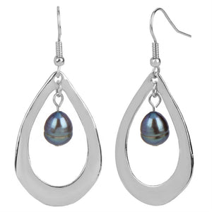 Silver Tear Drop with Bead Dangle Earrings