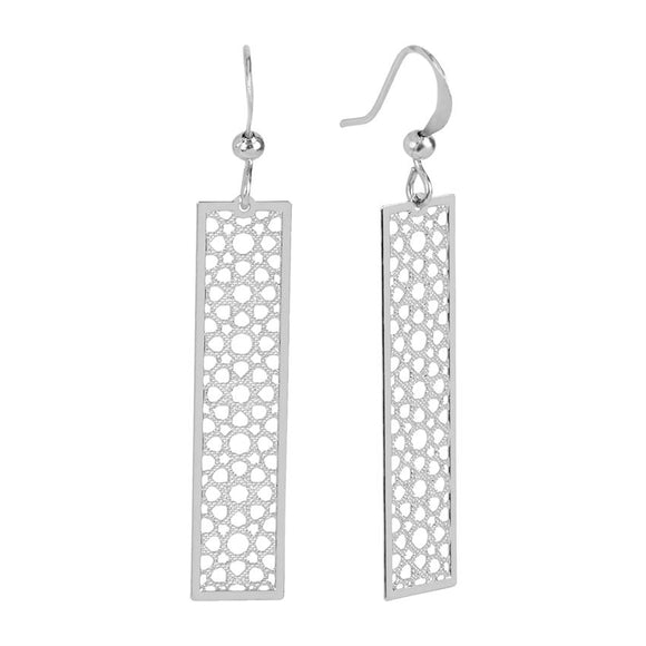 Silver Filigree Bar Dangle Earrings