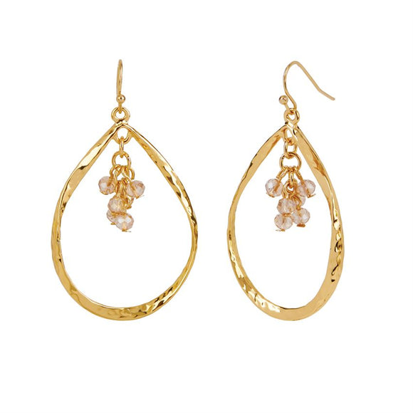 Gold Tear Drop with Faceted Dangle Earrings
