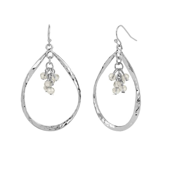 Silver Tear Drop with Faceted Dangle Earrings