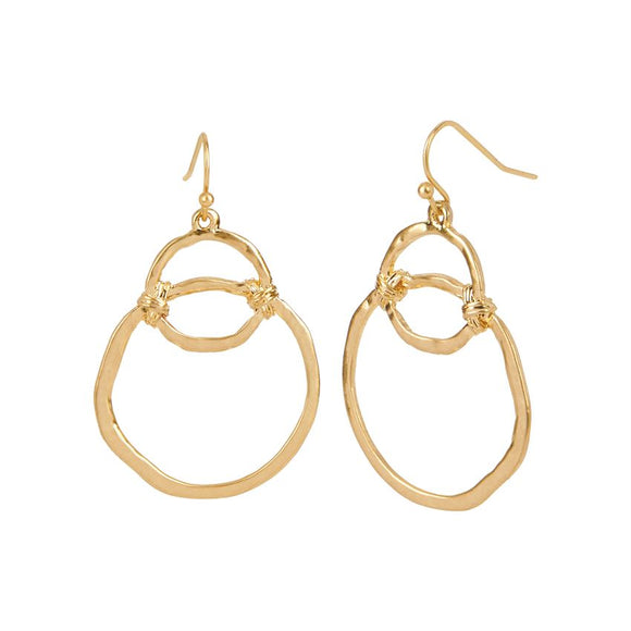 Gold Interlocking Hoops Dangle Earrings