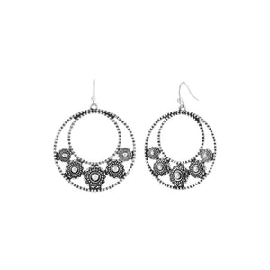 Antique Silver Filigree Crescent Earrings