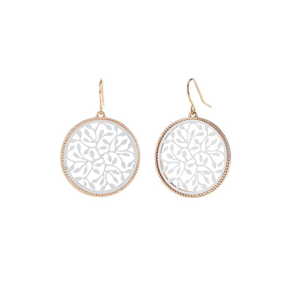 Two-Tone Filligree Swirl Dangle Earrings
