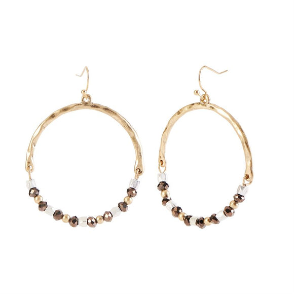 Gold Faceted Beads Hoop Earrings