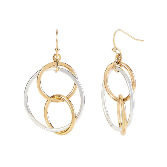 Mixed Metal Connecting Loops Earrings