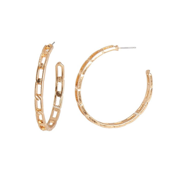 Chain Design Hoop Antique Gold Earrings