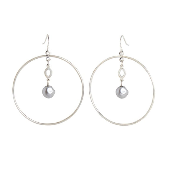Hoop with Pearl Dangle Silver Earrings
