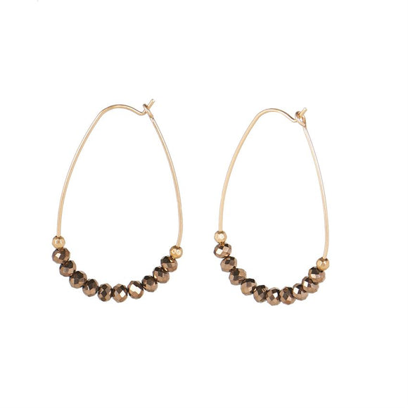 Large Beaded Hoop Bronze-Gold Earrings