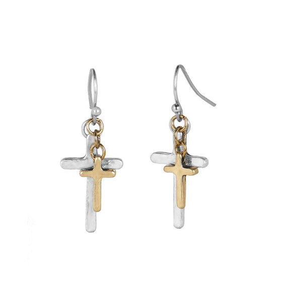 Layered Cross Dangle Earrings
